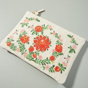Clare V. Embroidered Flat Zip Clutch